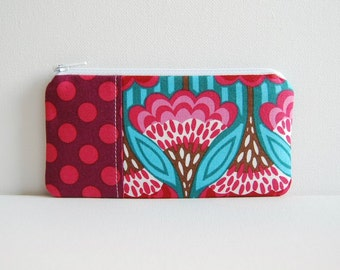 Zipper Pouch Coin Purse Fanfare in Blue Anna Maria Horner Garden Party