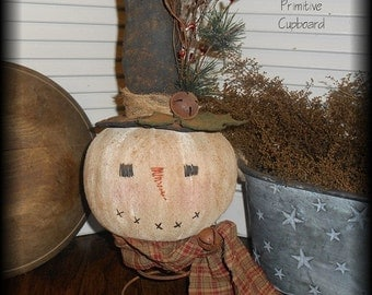 Primitive Winter Christmas Snowman Doll make do on Rusty Spring Handmade Prim