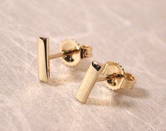7mm x 2mm Small Gold Earrings Solid Gold Bar Earrings 14k Yellow Gold Minimal Modern Gold Studs by Susan Sarantos