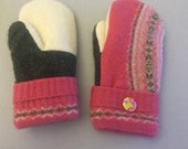 Repurposed mittens made from felted vintage wool sweaters and lined with soft fleece.