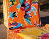 Oil Cloth Lunch Bag with Napkin and Snack Bag Jaunty Orange and Yellow