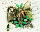 Lock of the Irish Butterfly Vintage Collage Brooch padlock