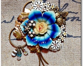 Vintage Collage Brooch Upcycled parts enamel flower with rhinestones and bee
