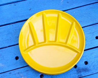 Enamelware Divided Picnic Plates Yellow set of 6