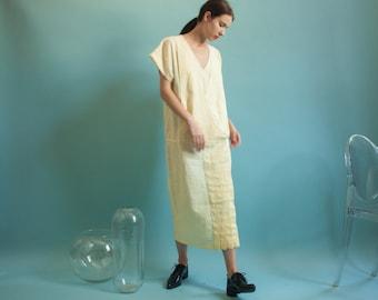 yellow dropwaist linen dress / flapper style dress / pleated skirt long dress / s / m / 641d / B14