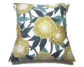Decorative Pillow Cover Bold Modern Floral Teal Navy Blue Gold Yellow Gray White Same Fabric Front/Back Toss Throw Accent 18x18 inch x