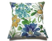 Decorative Pillow Cover Bold Floral Design Shades of Teal Blue Green Gold Same Fabric Front/Back Toss Throw Accent 18x18 inch x