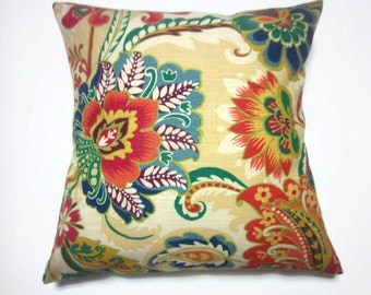 Decorative Pillow Cover Floral Red Blue Green Tan Orange Same Fabric Front/Back Toss Throw Accent 18x18 inch  x