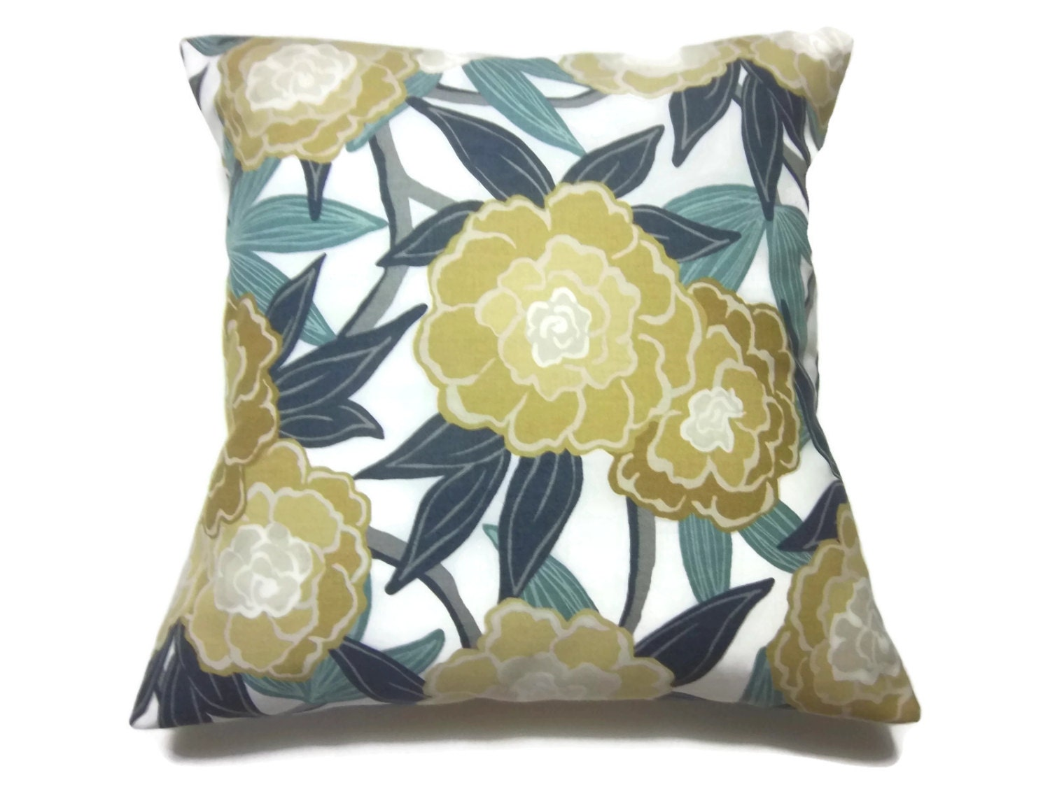 Navy And Teal Throw Pillows: Decorative Pillow Cover Bold Modern Floral Teal Navy Blue Gold