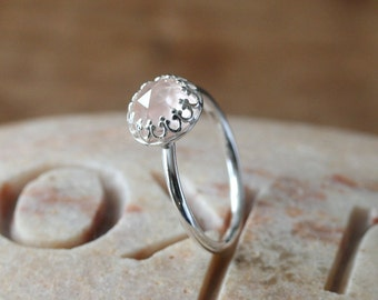 Checkerboard Cut Quartz Ring 8 mm, Gallery Crown Princess Bezel, Sterling Silver Gemstone, Size 1.75 to 15, Stacking Ring, Pink, Faceted