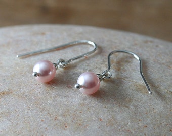 Swarovski Pearl Earrings Sterling Silver White Pearl or Rosaline or Night Blue, Dangle Earrings, Gift for Her, Womens Jewelry,Minimal Round