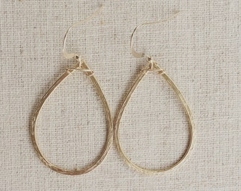 Simple brushed matte silver or gold teardrops