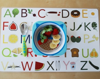 Food Alphabet and Numbers Placemat, Double Sided Placemat, ABC and Counting Placemat