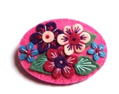 HALF PRICE SALE Victoriana felt brooch pin with freeform embroidery