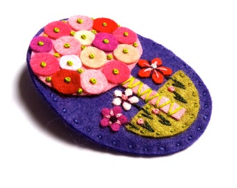 Tree felt brooch with freeform hand embroidery