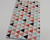 Checkbook Cover - Multi Color Triangles on White