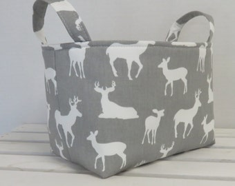 Storage and Organization - Fabric Basket Container Bin  - Nursery Decor - White Deer Silhouettes on Gray