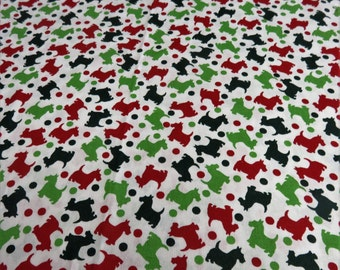 Scottish Dogs Scottie Scotty Christmas Xmas Fabric - 35 inches by 44 inches