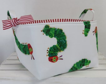 """Storage and Organization - Fabric Container Organizer Bin Basket - Made with Licensed Very Hungry Caterpillar Fabric - 10"""" x 10"""" x 7"""" tall"""