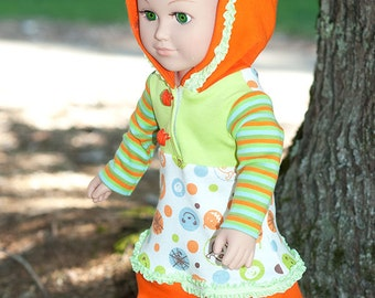18 inch doll Halloween jersey dress American doll clothes girl doll clothes fall long sleeve hoodie dress orange green pumpkin striped dress