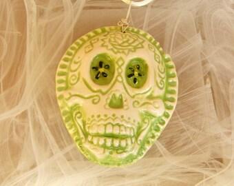 Green Dios de la meurte Day of The Dead Green Ceramic Pendant Necklace Jewelry  Sugar skull
