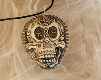 Black Dios de la meurte Day of The Dead Black Ceramic Pendant Necklace Jewelry  Sugar skull