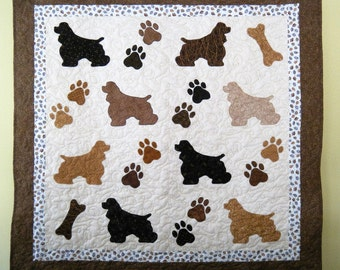 Cocker Spaniel quilt throw size  - 51 x 50 inches