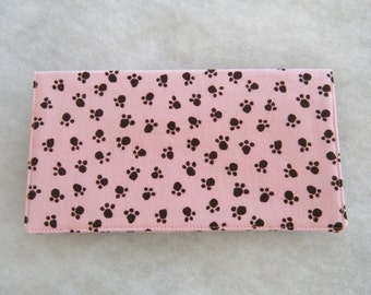 Checkbook Cover - black paw prints on pink