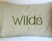 MONOGRAM NAME Phrase Word Pillow Cover. Custom Personalized. 12 x 16 Nursery. Dorm Decor. Family Name. Wedding Bridal. Housewarming Gift