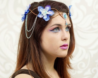 Elven Crown, Elven Headdress, Blue & Silver Flower Crown, Fantasy Costume Headpiece, Headdress, Cosplay, Costume Headpiece, Fairy