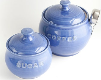 READY TO SHIP - Coffee and Sugar jar set- Cobalt