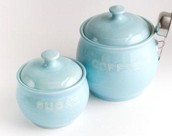 READY TO SHIP - Coffee and Sugar Jar Set- Aqua