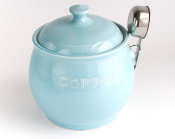 READY TO SHIP - Coffee Jar with scoop - Aqua