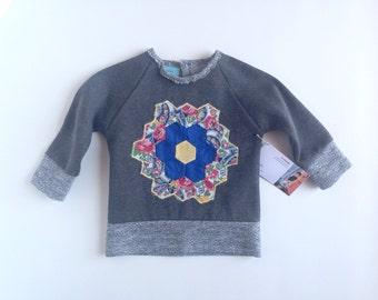 Baby sweatshirt - vintage quilt applique