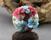 Lampwork Glass Floral Lattice Focal Pink Blue Ivory