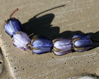 Lampwork Glass Set of Purple Shades Sparkling Rose Buds