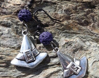 SALE!!! Silver Witch Hats And Purple Lava Ear Ornaments