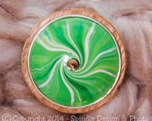 The Clay Sheep Drop Spindle - Lime Green Swirl Top Whorl Drop Spindle - Large 2.25oz