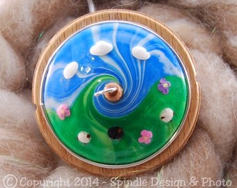 The Clay Sheep Drop Spindle - Sheep Swirl Top Whorl Drop Spindle - Large 2.12 oz