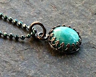 Amazonite  Necklace Sterling Silver Crown Bezel  Sea Blue Green Round Oxidized Gift for Her