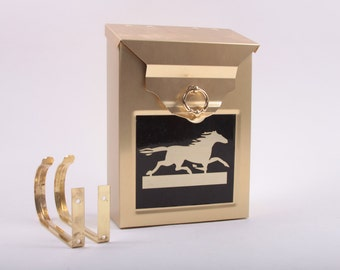 Vintage Golden Mailbox With Running Horse Flat Hang Up With Newspaper Holders ~ The Pink Room ~ 161026