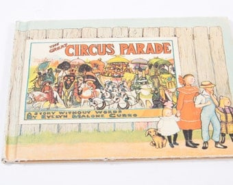 The Circus Parade by Evelyn Malone Curr 1960s Picture Book~ The Pink Room ~ 170306