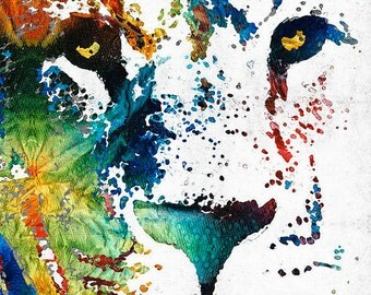 Lion Art Colorful Animal PRINT from Painting King Africa African CANVAS Ready Hang Large Artwork Safari Rainbow Primary Colors Fierce Eyes