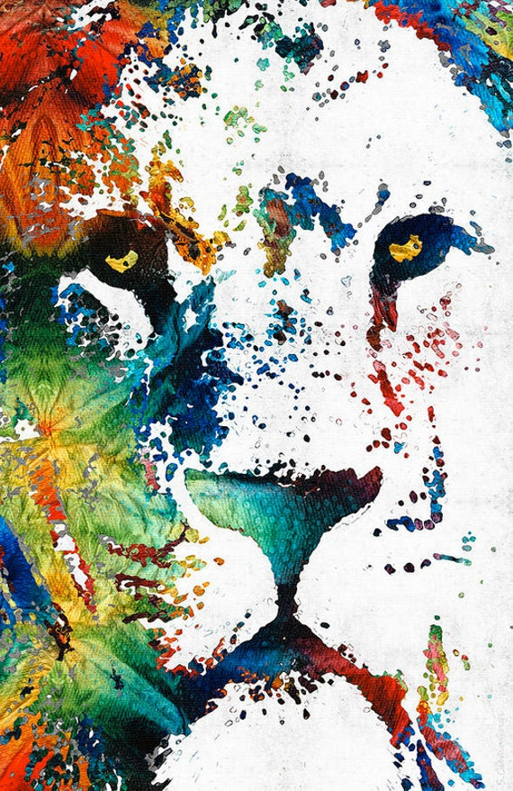 lion art colorful animal print from painting king africa