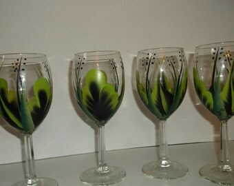 Wine Glasses/Goblets Hand painted Lime Black