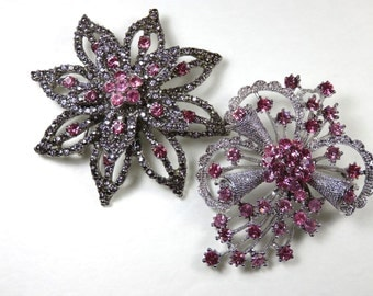 SJK Vintage -- Two Large Bling and Pink Silver Tone Brooches, Floral, Starburst, Spray, Pendant (1970's-80's)