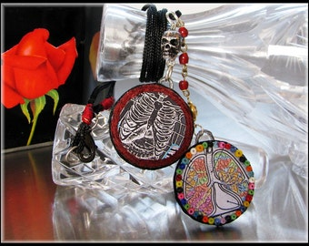 Gothic Necklace Handmade Mixed Media Jewelry Caged Breath Collage Art Round Pendants Pastel Goth Vintage Beads Rib Cage Lungs Body Parts