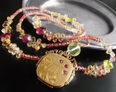 RESERVED for A - Antique Ruby Locket Necklace with Sapphire, Topaz, and Tourmaline