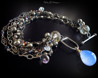 Custom Made to Order - Multi Strand Gunmetal Bracelet with Chalcedony, Pyrite, Spinel, Sapphire, and Topaz