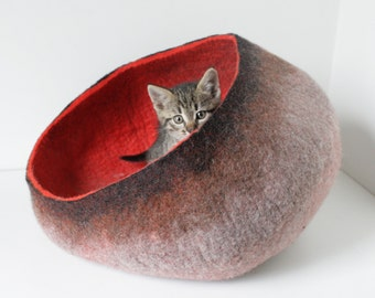 Pet / Dog / Cat Bed / Cave / House / Vessel / Furniture - Hand Felted Wool - Poppy Red Brown - Crisp Modern Contemporary Design